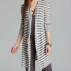 Free People Long Cardigan Open Front Gray & White